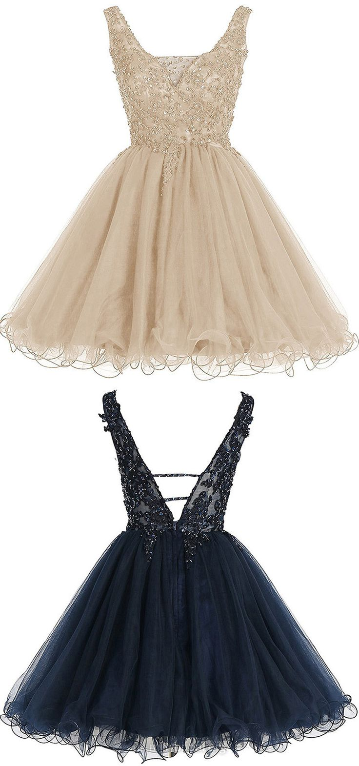 Champagne Prom Dresses Short, Cheap Prom Dresses For Teens 2018, Junior Party Dresses A-line, V-neck Cocktail Dresses Tulle, Beading Homecoming Dresses Backless