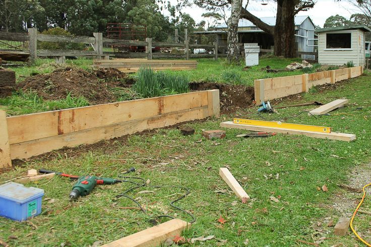 Retaining Wall being built - Hoddles Creek Farm