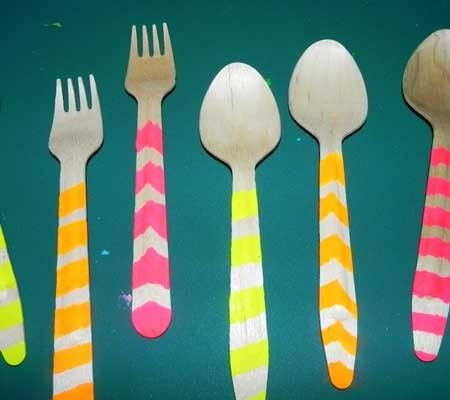 Give the kids different colored paints to use to paint their own wooden utensils! #kids #party #diy