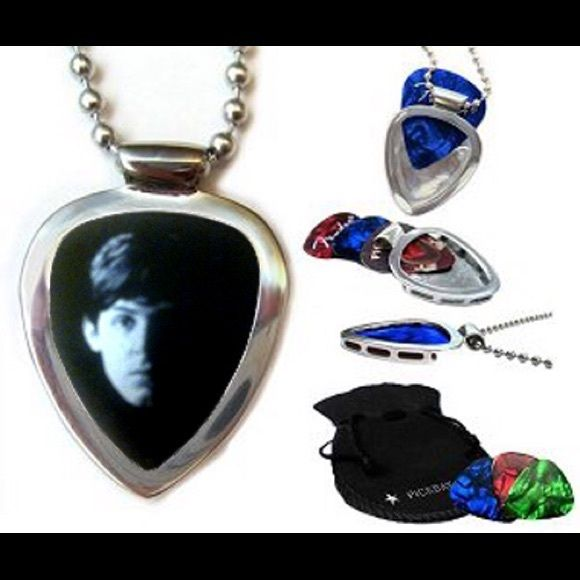 "Pickbay Guitar Pick Holder + Paul McCartney Pick Stainless Steel PICKBAY guitar pick holder pendant necklace set + Paul McCartney Beatles guitar pick + 3 more cool guitar picks. Change picks easily, 1000Necklaces in 1! Stainless steel is shiny & hypoallergenic. Includes: Stainless Steel Pickbay pendant, Paul McCartney Beatles pick + 3 cool picks, polishing pouch & 24"" stainless steel bigger 3.2"" ball chain. Display your favorite guitar picks everywhere! Shiny stainless steel Pickbay will…"
