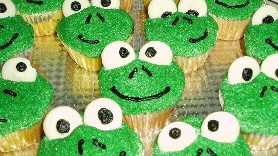 """These frog-faced cupcakes are fun and easy to make for a child's birthday."""