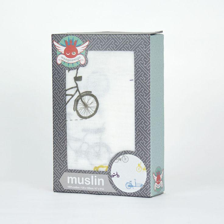 Weegoamigo Printed Baby Muslin - Bicycles $14.95