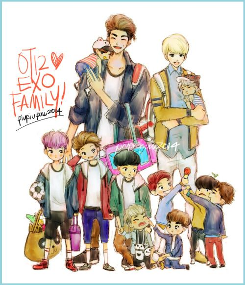 credits:bluemushyroom (Okay this is rfeally really adorable..and they are presented by their age (top) sehun, kris, suho, kai (bottom) xiumin, luhan, lay, tao, chanyeol, d.o, baekhyun, chen