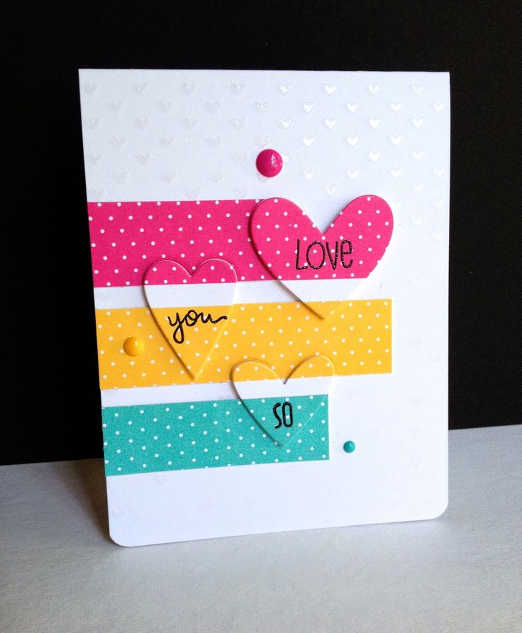 "handmade Valentine/love card ... The Cutting Edge Challenge ... I would say the them is ""secret love"" ... die cut hearts add texture but a designed to match the strips of bright polka dot paper and the background behind ... fabulous card!"
