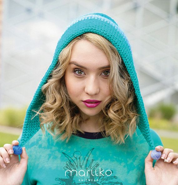Turquoise Hand Knit  Hood Boho Style Pixie Pinner Hat by Mariiko