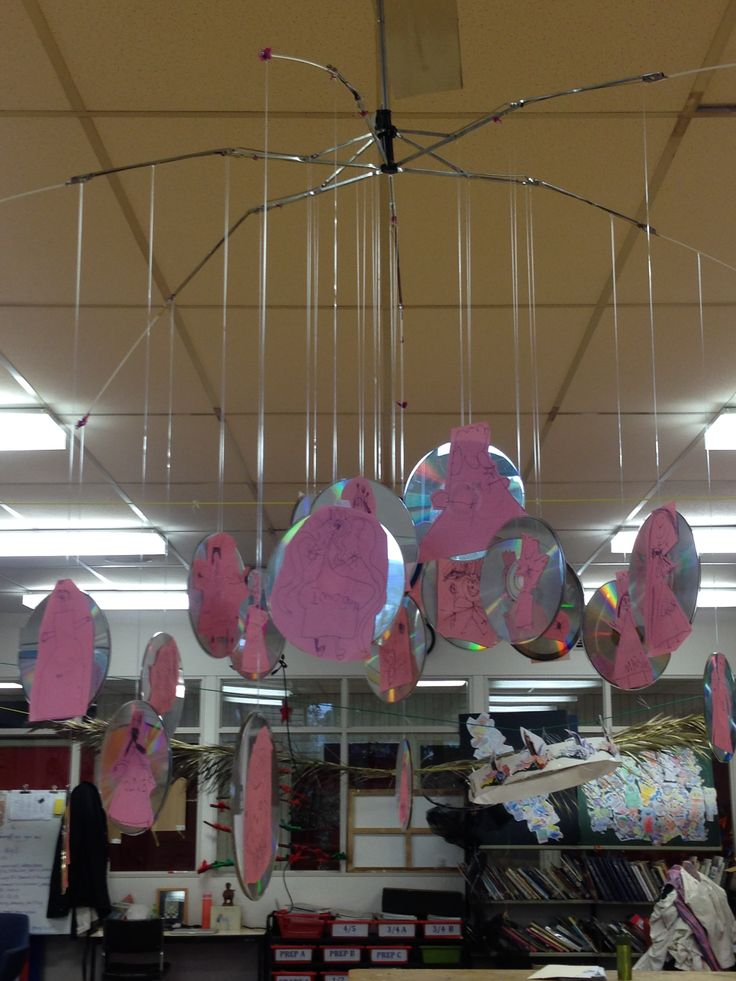 Umbrella frame CD Mobile. Prep Paper Illustrations glued to CD's. This theme Glinda the Good Witch floating in her bubble from The Wizard of Oz.