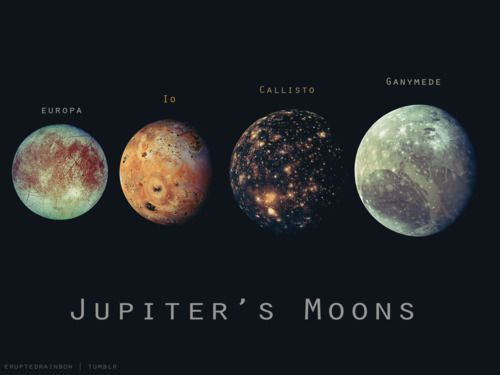 The four largest and best known of Jupiter's 60+ moons. I can see these through my telescope!!! ❤️