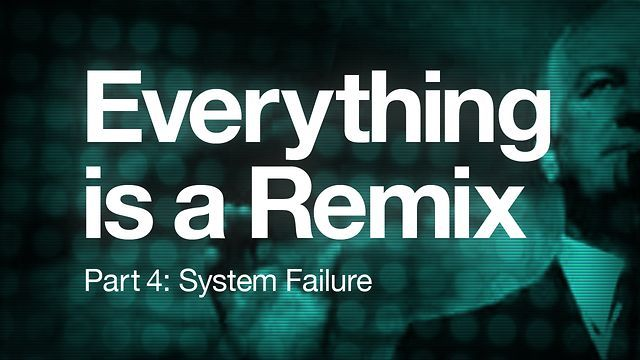 Everything is a Remix [Part 4] by Kirby Ferguson; Part 4: System failure (exploration of how copyright law is failing to keep up with the reality of creativity); 15.26mins;   a sometimes humorous but also very interesting look at appropriation across multiple media forms