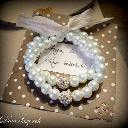 Mother and daughter bracelets. #Diva #divaekszerek # motheranddaughter #bracelet #white