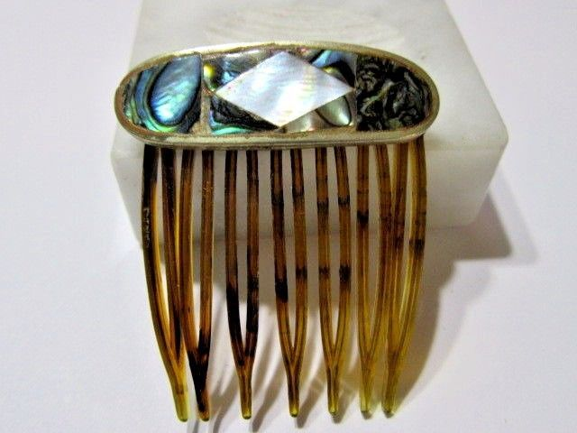 MINIATURE ABALONE SHELL SMALL HAIR COMB FAUX TORTOISE COLOR CELLULOID VINTAGE   eBay
