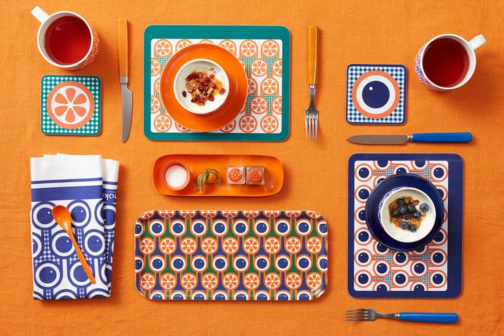 English Breakfast Collection - Hokolo's English Breakfast collection plays on strong graphic qualities of fried eggs, tomatoes, blueberries and orange slices set against colourful backdrops and gingham inspired patterns reminiscent of the breakfas...