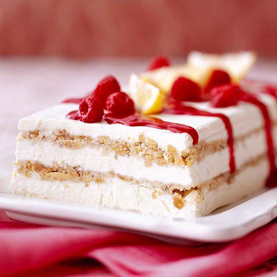 Limoncello Semifreddo with Raspberry Sauce - yes please! More frozen dessert recipes: http://www.bhg.com/recipes/desserts/ice-cream/frozen-dessert-recipes/