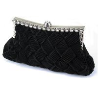 Black evening clutch, satin clutch, women's fashion bags