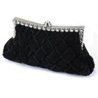 Black evening clutch, satin clutch, women's fashion bags