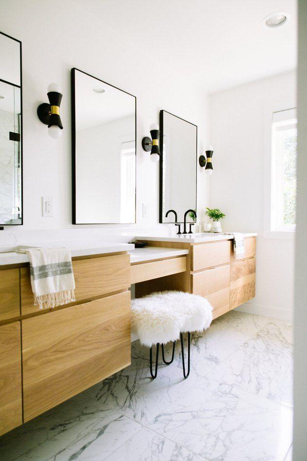 These Minimalist Bathroom Vanity Ideas Are Simple But Oh So Satisfying Hunker Minimalist Bathroom Master Bathroom Vanity Minimalist Bathroom Furniture
