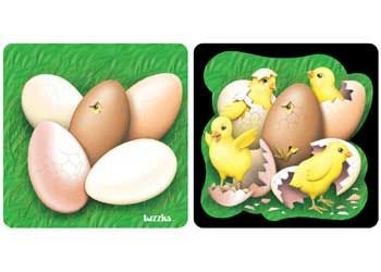 Tuzzles Egg & Chickens Double Layer Tray Puzzle - Layered Puzzles