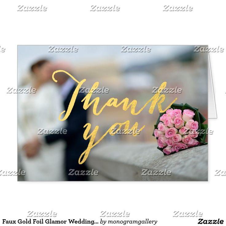 Faux Gold Foil Glamor Wedding Photo Thank