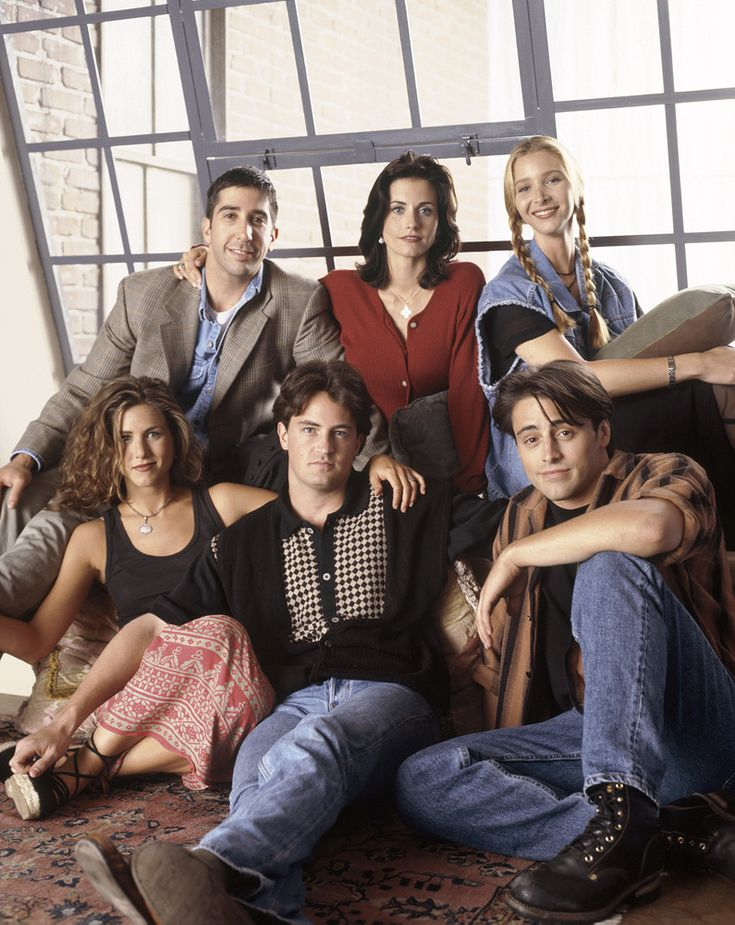 FRIENDS -- Pictured: (clockwise from bottom left) Jennifer Aniston as Rachel Green, David Schwimmer as Ross Geller, Courteney Cox Arquette as Monica Geller, Lisa Kudrow as Phoebe Buffay, Matt LeBlanc as Joey Tribbiani, Matthew Perry as Chandler Bing