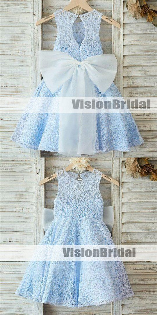 03abb2741e Charming Baby Blue Scoop Neckline Sleeveless Key Hole Back Lace A-Line Flower  Girl Dresses
