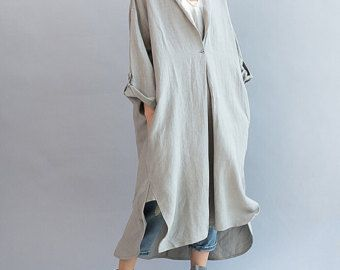 Women Loose Fitting linen Long dress/ Asymmetric gray oversized loose linen dress