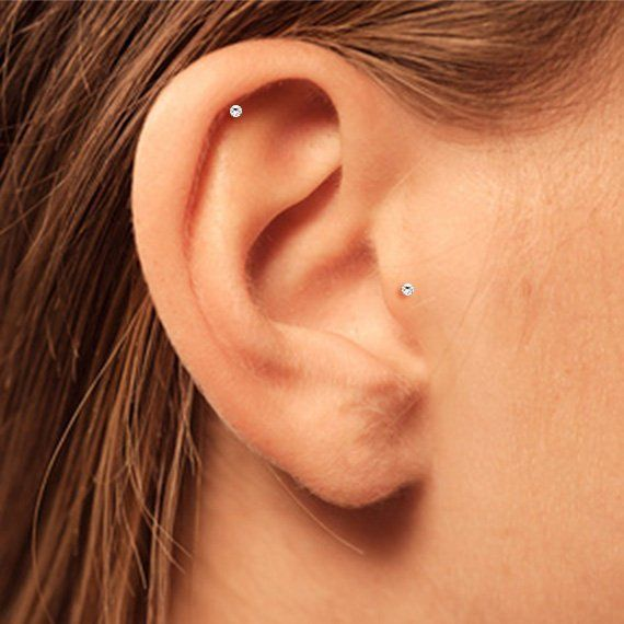 Circle Stud Round Pave piercing Tiny CZ earring Helix CZ stud Tragus earring NEW Rook Cartilage earring Conch Tiny Tube Earrings