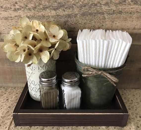 Napkin Holder, Farmhouse Decor, Salt & Pepper Shakers, Farmhouse Kitchen Decor, Mason Jar Decor, Table Decor, Rustic Home Decor