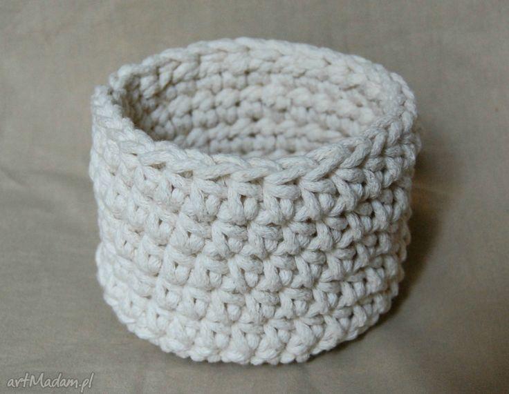 Koszyczek ze sznurka bawełnianego, ecru. $9