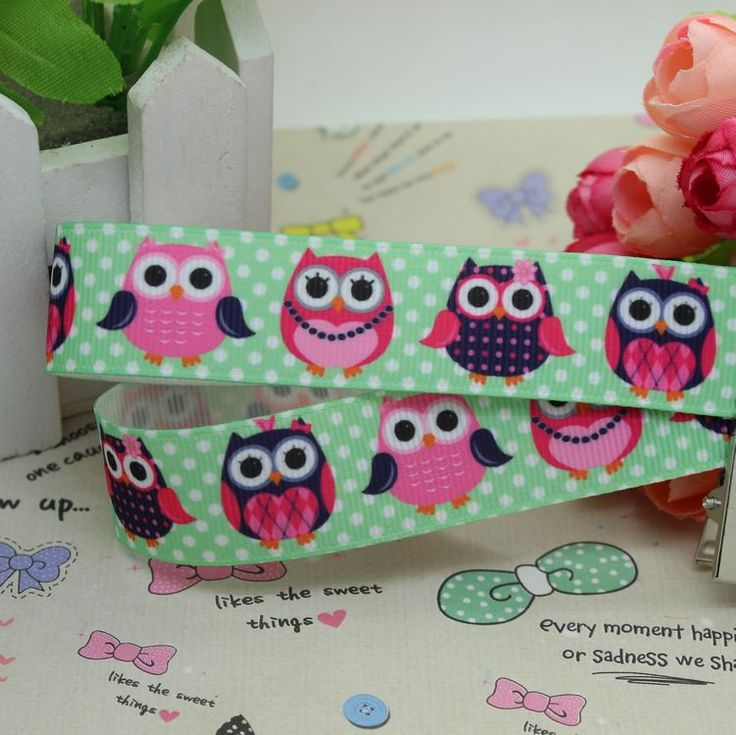 7/8'' Free shipping owl  cartoon printed grosgrain ribbon hairbow diy party decoration wholesale OEM 22mm H1979