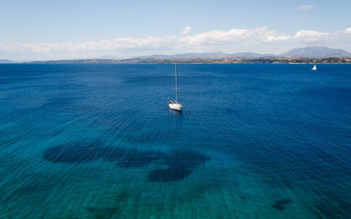 In the sea of Spetses island