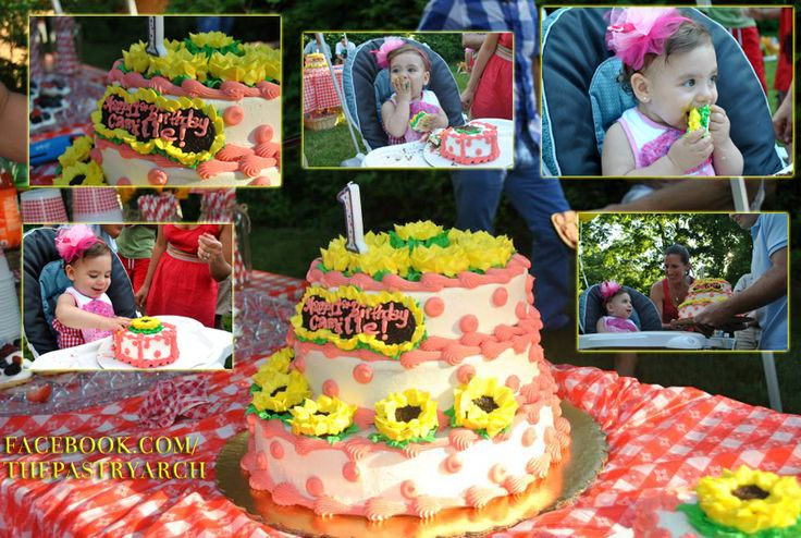 3 Tiered Sunflower Cake With Matching Smash Cake For