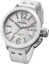 TW Steel 45mm Stainless Steel Case with White Ceramic Bezel and White Mother of Pearl Dial on a White Leather Stitched Strap from the CEO Canteen Collection