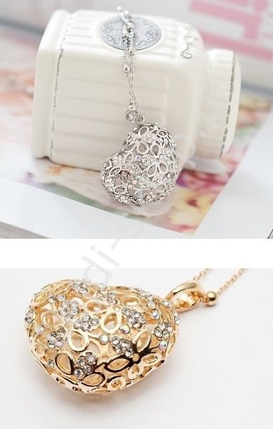 Silver heart. Crystals. Srebrny naszyjnik ażurowe serce | serduszko z kryształkami