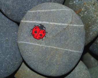 Tiny Hand Painted Ladybird Ladybug on a Stone Pebble