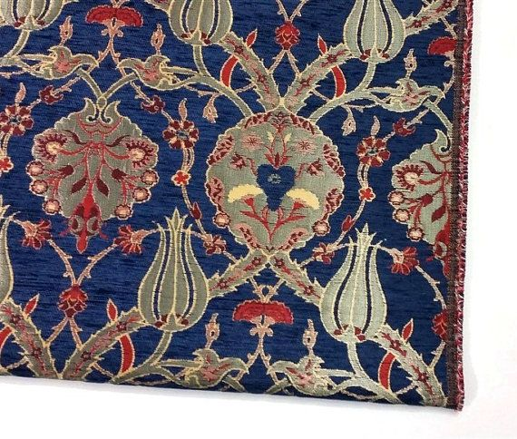 Jacquard Chenille Upholstery Fabric Floral by AnatoliaFabric