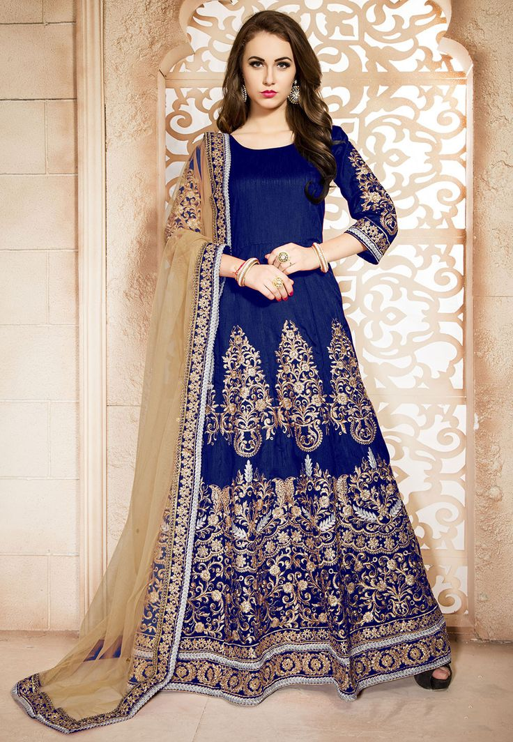 Embroidered Abaya Style Art Silk Suit in Blue