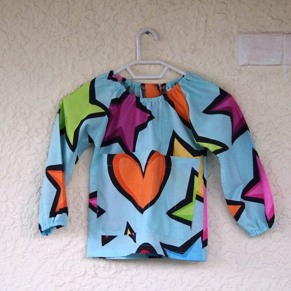 Art smock  S 2-4  Love Stars by UtopiaHandmade on Etsy