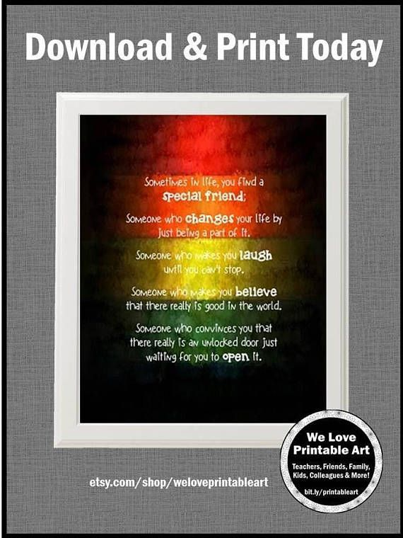Best Friend Gift Idea This Special Friend Print Features A Rainbow
