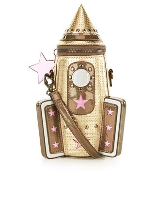 Shoot for the stars with our novelty rocket across-body bag, designed with a metallic aesthetic, cut-out stars and holographic details.