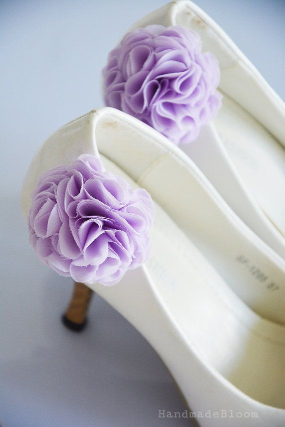 Pourpre Lila, Clips de chaussure mariage fleur, Bridal fleur pour chaussure, fleur en mousseline de soie, demoiselle d