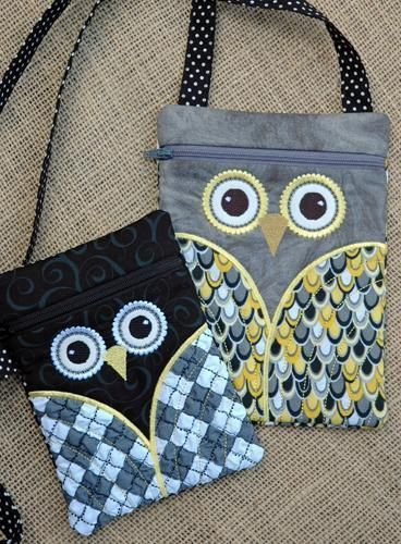 purse patterns | Owl Hipster Purse Set by ReenW | Embroidery Pattern