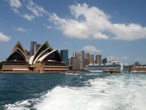 Cruising along Sydney Harbour with Opera House views.