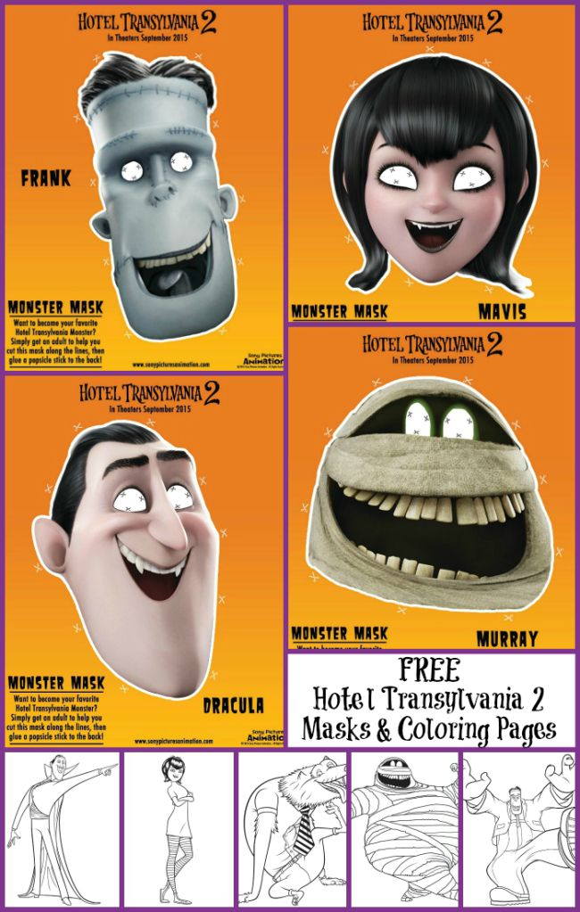 Hotel Transylvania 2 Masks and Coloring Pages