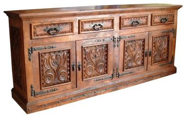 Grande Mesquite Hand Carved Buffet - mediterranean - Buffets And Sideboards - Indeed Decor 84″W x 44″H x 22″D. $4,000