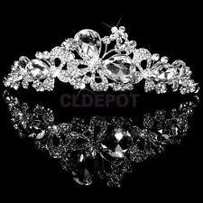 Crystal Tiara Crown Headband Butterfly Love Flower Wedding Bridal Prom Jewelry
