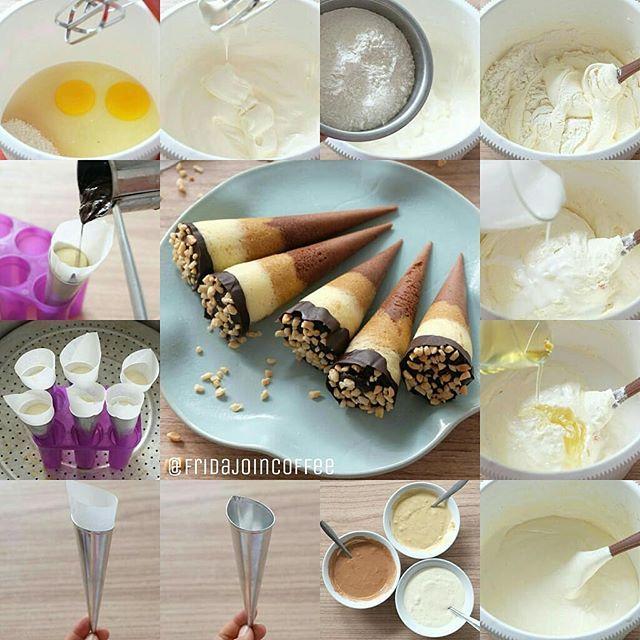 Resep Bolu Kukus Cornetto Dan Cara Membuat Bolu Kukus Cone Lengkap Bahan Bikin Bolu Bentuk Es Krim Cone 3 Rasa Coklat Moca Dan Jug Ide Makanan Resep Kue Lezat