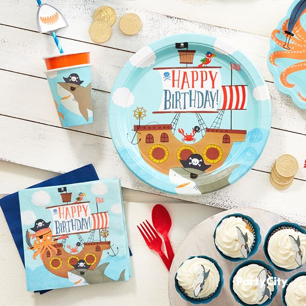 Set Sail For A Birthday Adventure These Pirate Shark Lunch Plates
