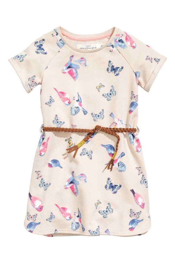 Dress with a belt - Light beige/Butterflies - Kids | H&M GB 1