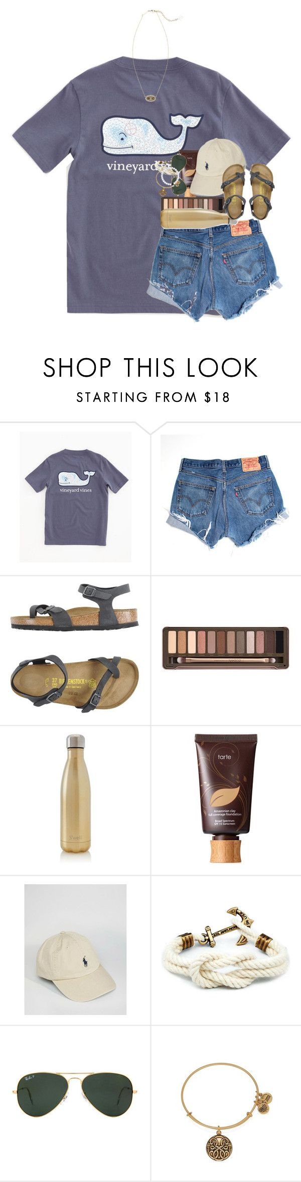 """""""day one!!"""" by ellaswiftie13 ❤ liked on Polyvore featuring Vineyard Vines, Levi's, Birkenstock, Urban Decay, S'well, tarte, Polo Ralph Lauren, Ray-Ban, Alex and Ani and Kendra Scott"""