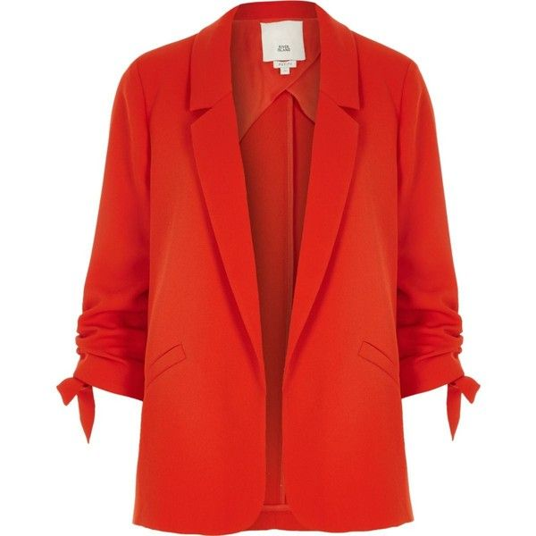 Petite red ruched sleeve blazer (5.595 RUB) ❤ liked on Polyvore featuring outerwear, jackets, blazers, petite blazer, petite blazer jackets, red blazer jacket, petite jackets and ruched sleeve blazer