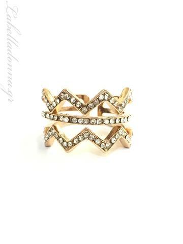 La Bella Donna - Γυναικείο δαχτυλίδι με λευκά ζιργκόν